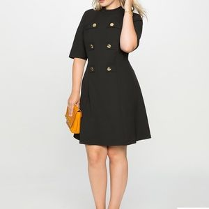 Eloquii mock neck military dress with sleeves